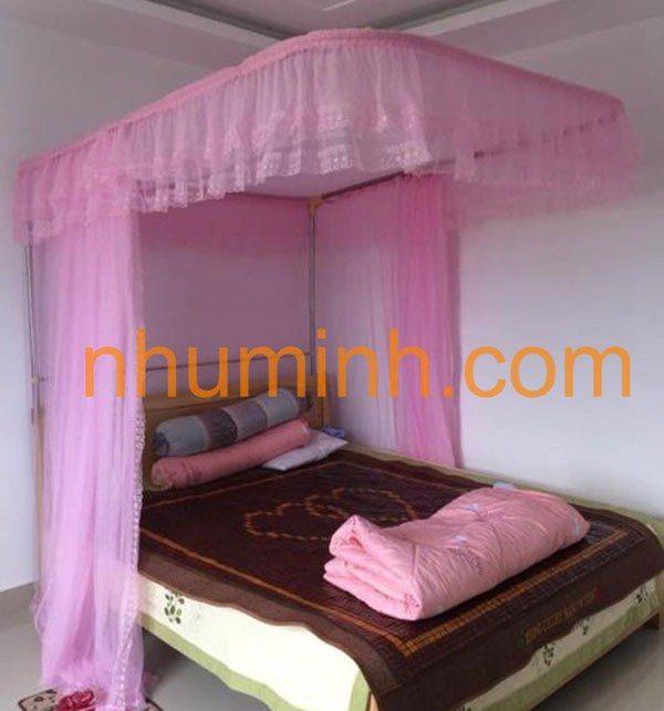 Mùng khung không khoan tường màu hồng