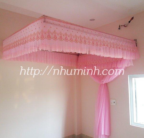 Mùng khung cố định màu hồng 1.6m x 2m, 1.8m x 2m